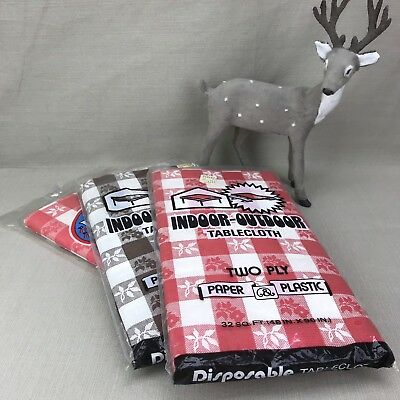 3x NOS Disposable Checkered TableCloth Vintage Picnic 48