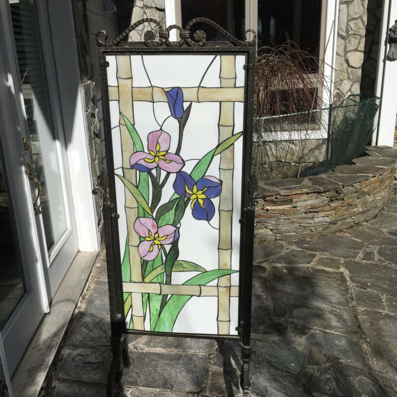 RARE Large Free-standing Bronze Framed Stain Glass Panel