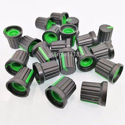 US Stock 20pcs Hi-Fi CD Volume Tone Control Potentiometer Knob 6mm Black Green