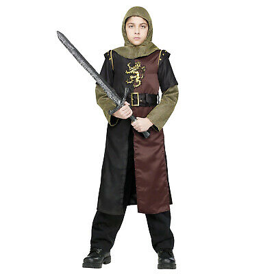 Child Boys Medieval Renaissance Valiant Knight Halloween Costume Tunic Hood Belt - Boys Renaissance Costumes
