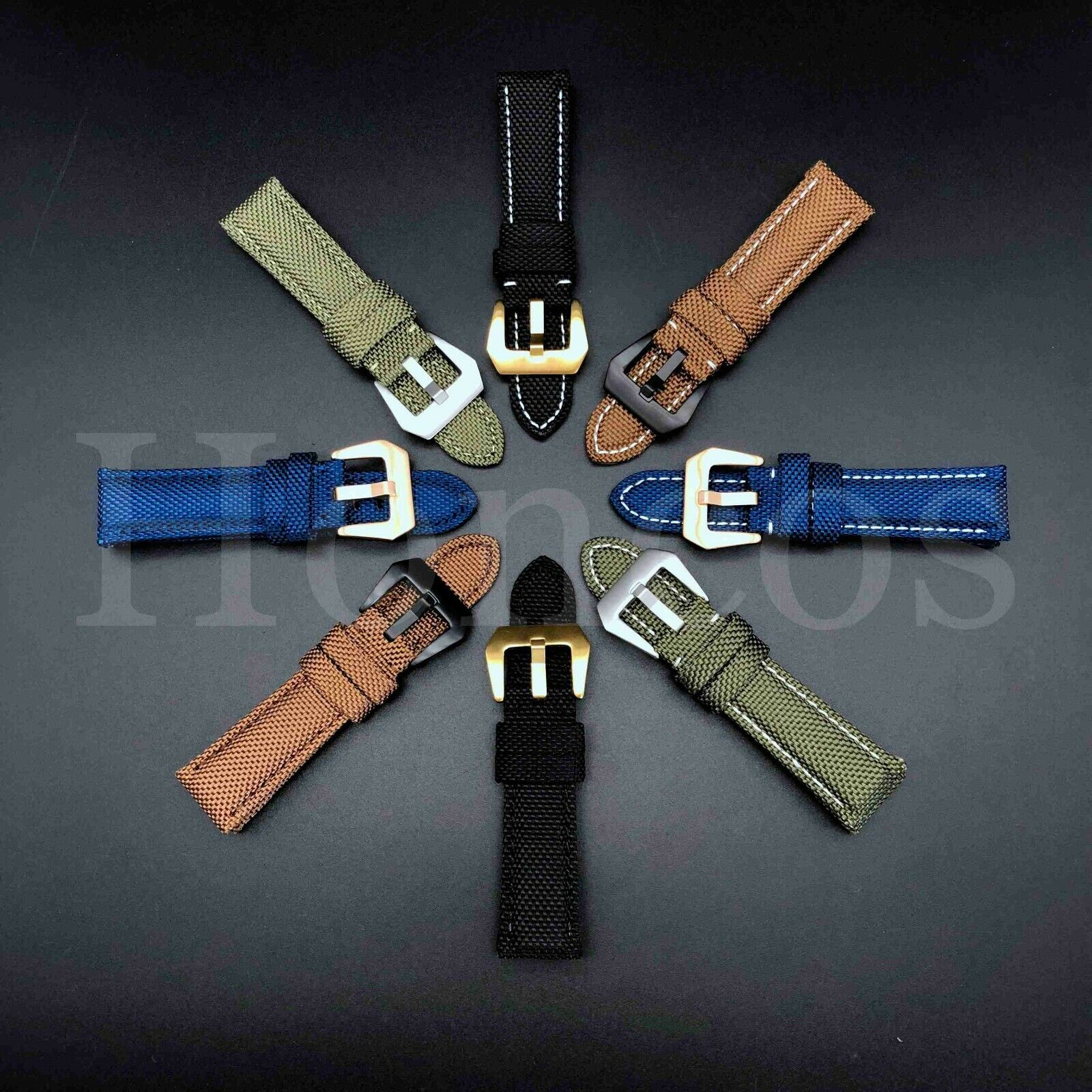 22 24 26 MM Canvas Stitch Calf Leather Watch Band Strap Fits