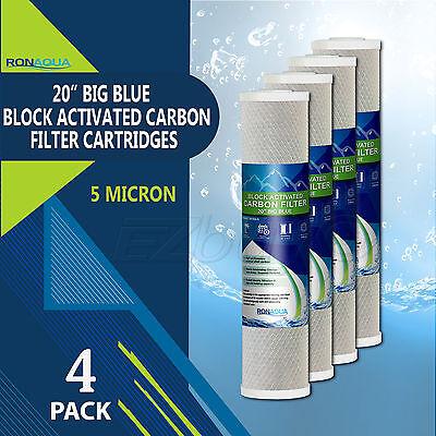 """4 pcs Big Blue CTO Carbon Block Water Filters 4.5"""" x 20"""" Whole House Cartridges"""