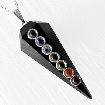 Black Tourmaline 7 Chakra Stone Pendant Crystal Point Silver Necklace Reiki Heal Handmade Stone Pendant