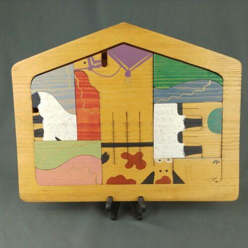 Vintage Modernist Nativity Set Painted Wood Puzzle 14 x 11 inch 13 pcs