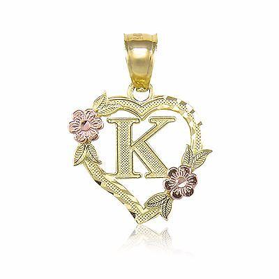 14K Yellow Gold Heart Initial Letter Pendant -A-Z Alphabet Flower Necklace Charm