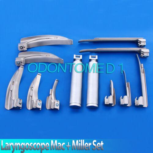 Set Of 10 Mac & Miller Laryngoscope Blade+2 Handle Intubaton