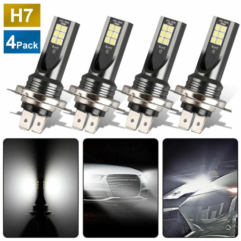4Pcs Mini H7 + H7 Combo LED Headlight Kit Bulbs High Low Beam 240W 52000LM 6000K