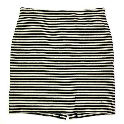 Talbots cotton striped textured knit pencil skirt cream dark navy blue size 14  - Textured Knit Skirt