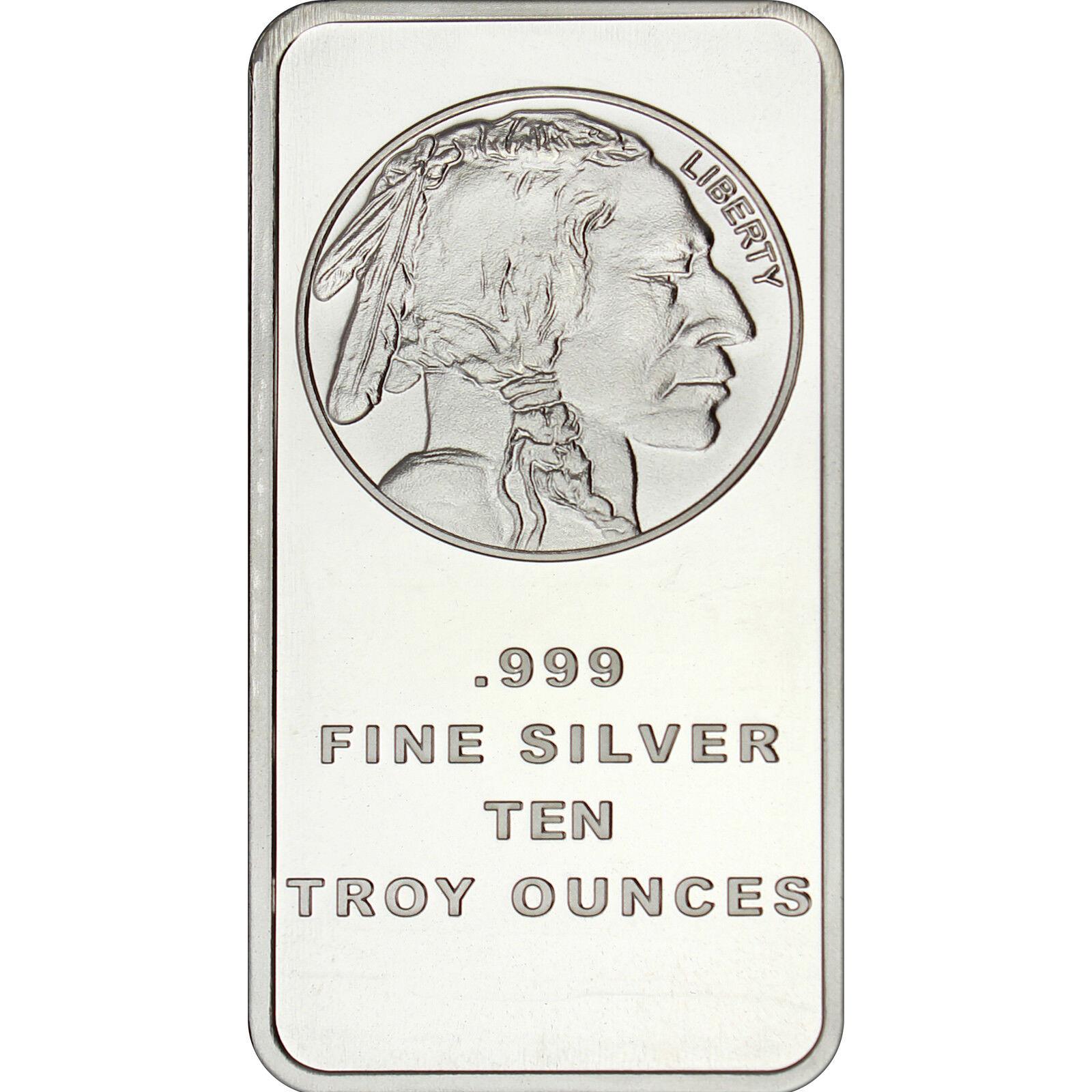 American Buffalo 10 oz .999 Fine Silver Bar by SilverTowne