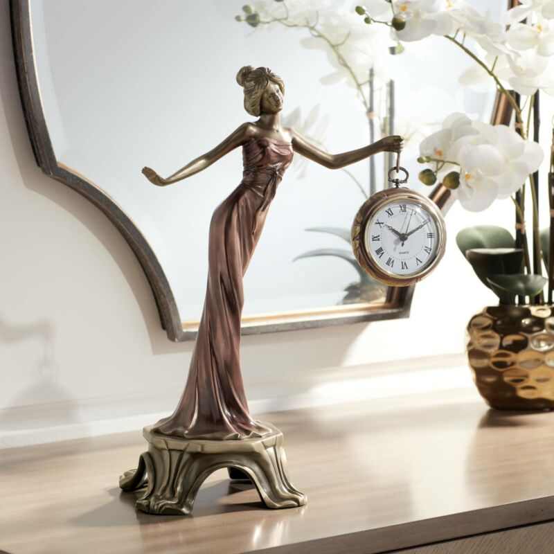 """Time Figurine with Clock 17 1/2"""" Statue"""