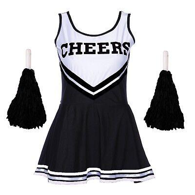 BLACK HALLOWEEN CHEERLEADER FANCY DRESS HIGH SCHOOL UNIFORM COSTUME + POM POMS