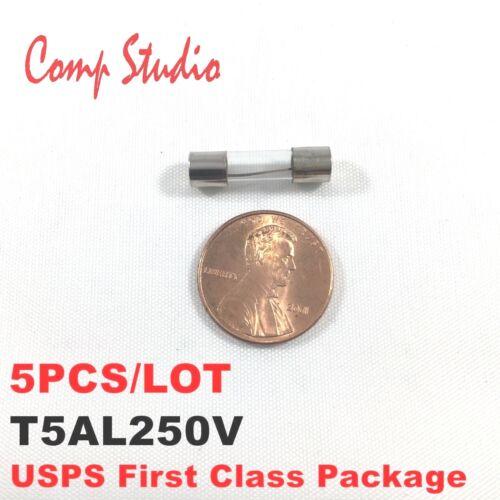 5pcs/lot 5A 250V Slow Blow Fuse Time-Delay T5AL250V 5mmX20mm