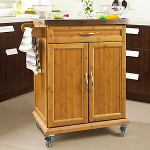 Sobuy bamboo kitchen cabinet kitchen island trolley for Kitchen cabinets ebay