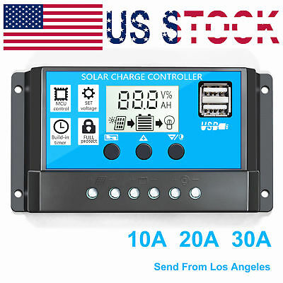 10A Dual USB Solar Charge Controller Panel Battery Regulator 12/24V Auto Battery Charging Regulator