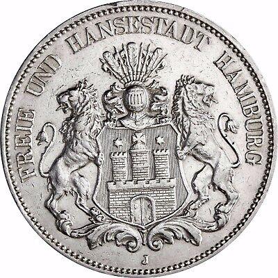 Jäger 65 - Hamburg Großer Adler - 5 Mark Silber 1891 - 1913 Münze in Münzkapsel