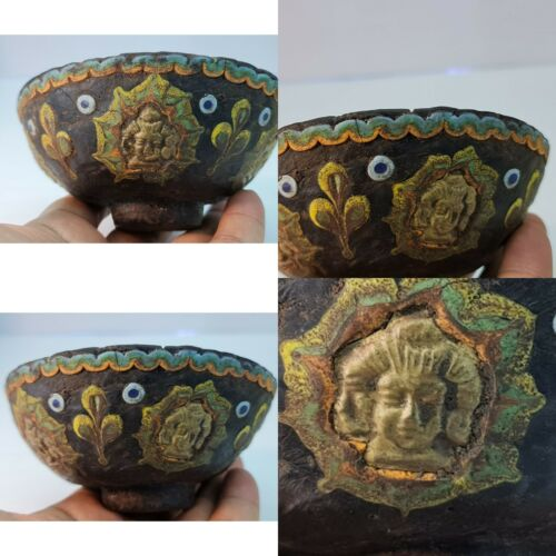 Ancient mosaic Glass rare bowl with 4 faces king brass made