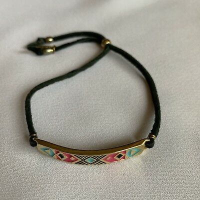 - Ettika Aztec Gold Plated Friendship Bracelet Black Leather Blue Pink Enamel 12""