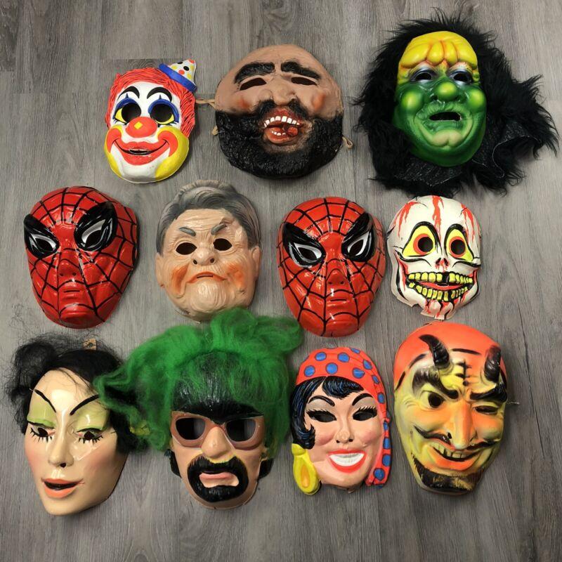 Lot of 11 VINTAGE Halloween Masks - Spiderman, Clown, Devil, Skeleton, Monster