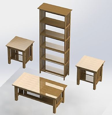 Mission Style Furniture Woodworking Plans - 3pcs bookshelf, coffee,& end (Mission Woodworking Plans)