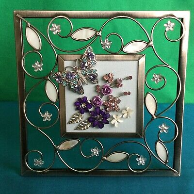 OOAK Sparkling Handmade Picture Frame Recycled Jewellery Art Flowers Butterfly