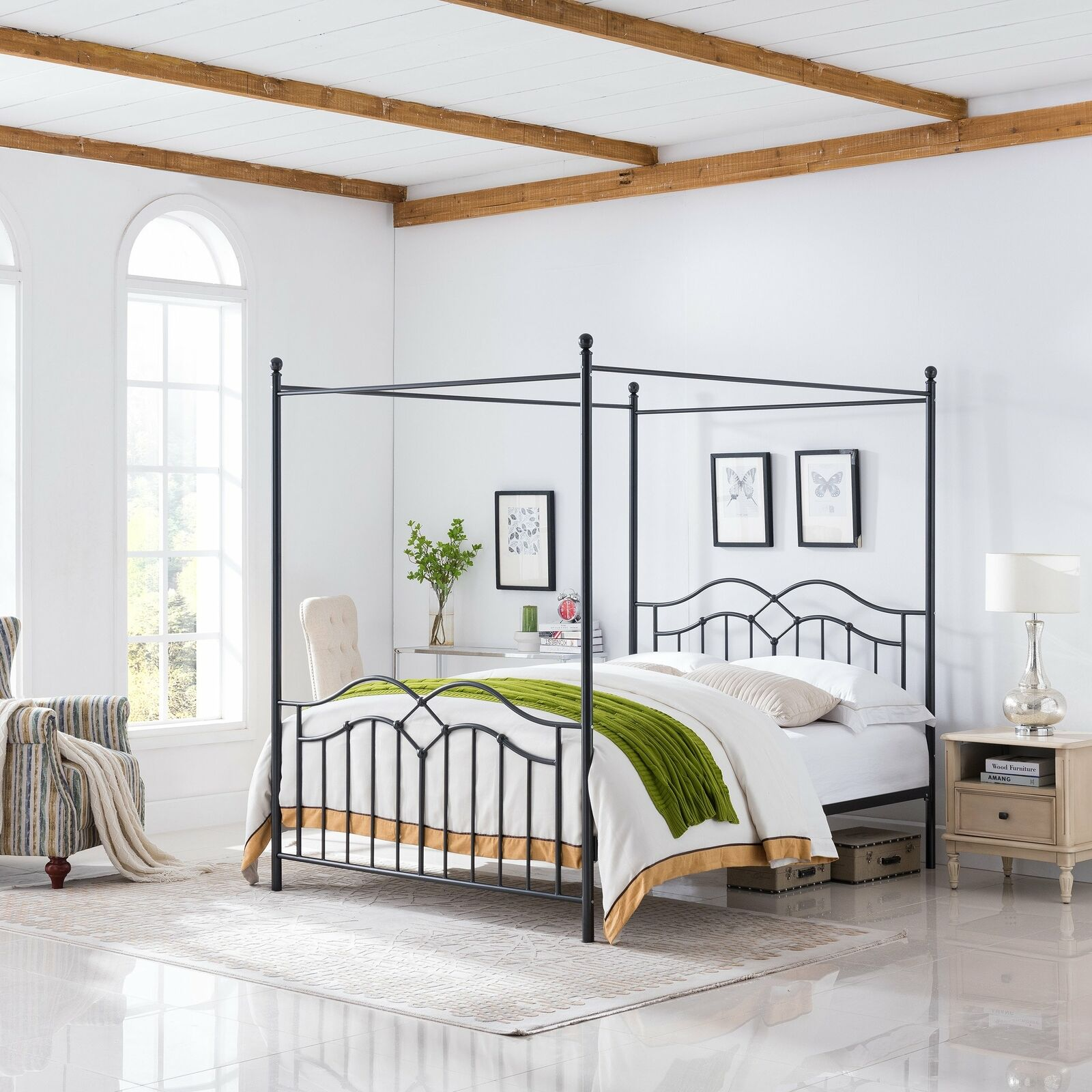 Simona Traditional Iron Canopy Queen Bed Frame Beds & Bed Frames