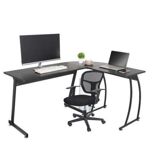 Computer Gaming Laptop Table L Shaped Desk + Ergonomic Office Mesh Chair Swivel Furniture