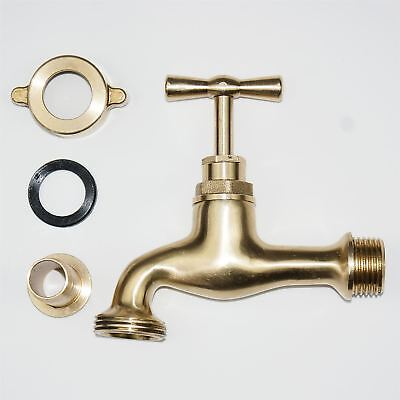 "Solid Polished Brass Tap 1/2"" Faucet Mixer Basin Garden Bathroom Kitchen BIB"