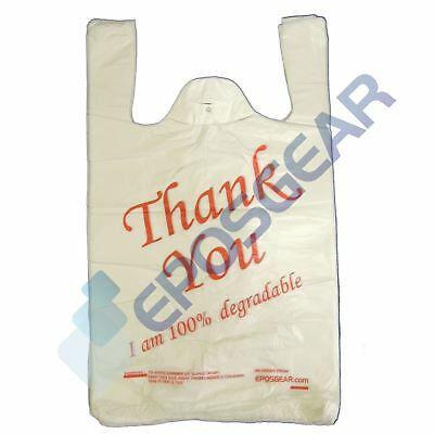 300 White Red Large Thank You 100% Degradable Eco Plastic Vest Carrier Bags