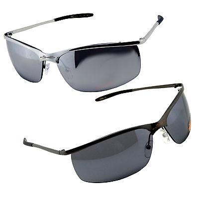 Sleek Contoured Metal Frame Semi Rimless Sport Wrap New Sunglasses Men (Sleek Metal)