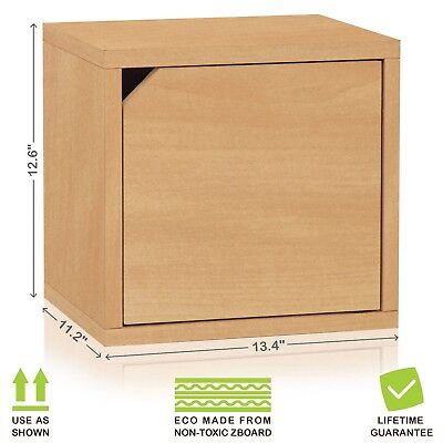 Eco Stackable Connect Storage Cube Unit with Door, Natural