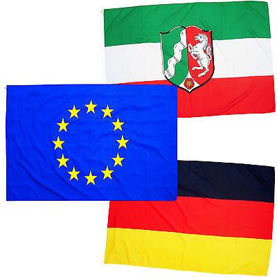 Fahnen 3er Set NRW Europa Deutschland Querformat 90 x 150 cm Hiss Flaggen Mix