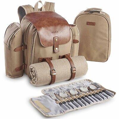 VonShef 4 Person Picnic Backpack Rucksack with Dining Set, Cooler & Cutlery Set