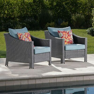 Charles Outdoor Gray Wicker Club Chairs with Teal Water Resistant Cushions (Set  ()