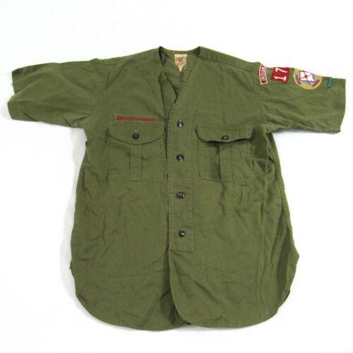 Vintage Mid Century Boy Scout Uniform Shirt V Neck Button Up