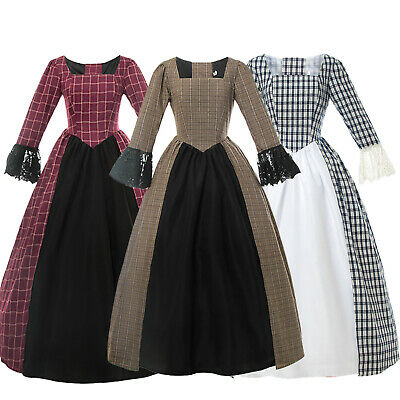 Women's American Pioneer Colonial Prairie Dress Civil War Victorian Tartan Dress