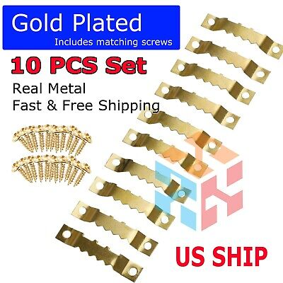 Gold 10PCS DIY Sawtooth Picture Frame Hanging Hangers Double Hole with 20 Screws