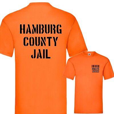 Kostüm Karneval Fasching Hamburg County Jail T-Shirt Fun Prison Gefängnis S-3XL