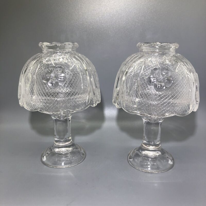 Partylite Fairy Lights Pair Candle Tea Light Lamp Holder Clear Glass