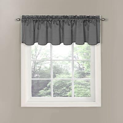 "ECLIPSE 42"" x 21"" Short Valance Small Window Curtain Bathroom Charcoal Gray"