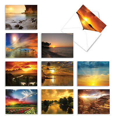 10 Assorted All Occasion Blank Note Cards with Envelopes - SUN SETTINGS M1740BN