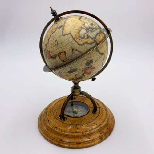 Vintage Terrestrial World Globe With Compass