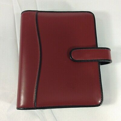 Red Compact Franklin Covey Planner Binder Organizer Faux Leather Black Snap Flap