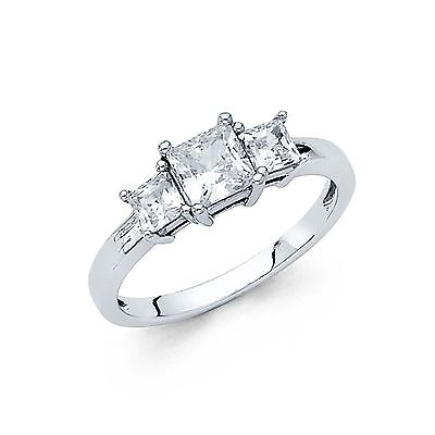 14K Solid White Gold 2 CT 3 Stone Princess cut Ring Engagement Wedding Band
