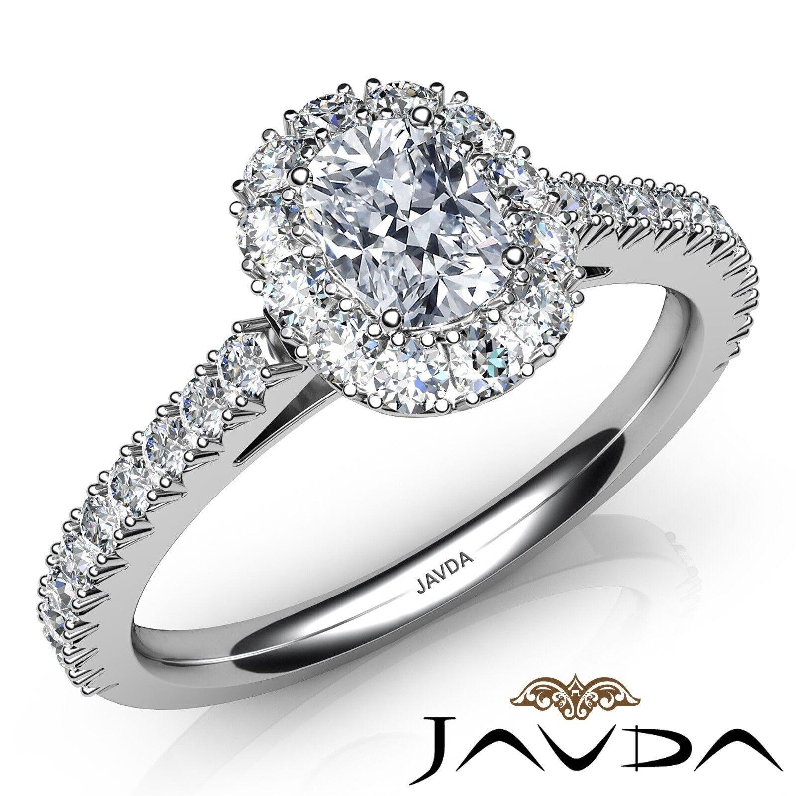 1.52ct French Pave set Halo Cushion Diamond Engagement Ring GIA F-VS1 White Gold