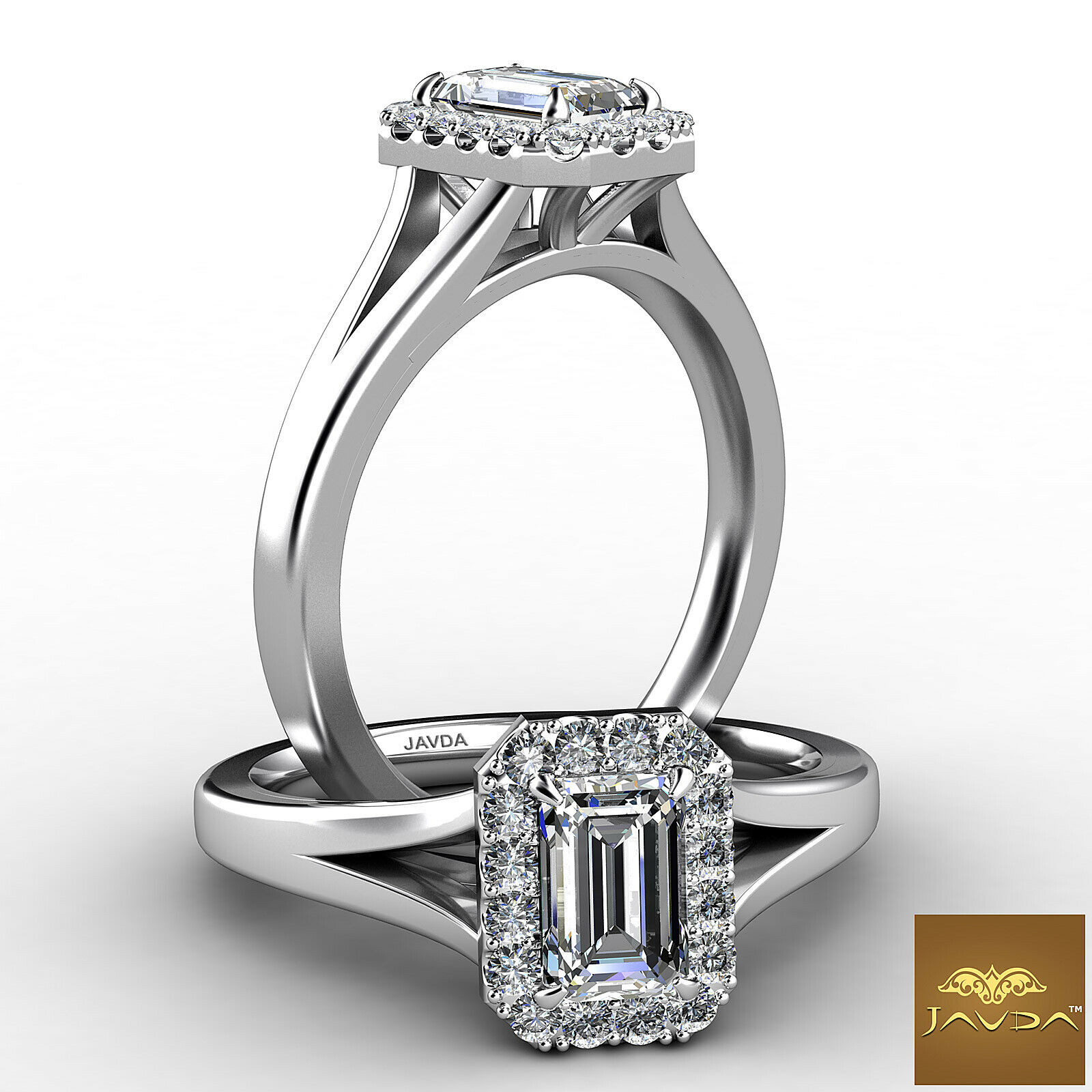 0.9ctw Split Shank Halo Pave Emerald Diamond Engagement Her Ring GIA G-SI1 Gold