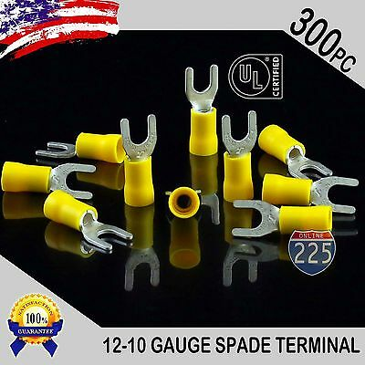 300 Pack 12-10 Gauge Vinyl Spade Fork Crimp Terminals 10 Stud Tin Copper Core