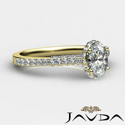 Circa Halo Pave Set Oval Diamond Engagement Ring GIA D Color SI1 Clarity 1.15Ct 9