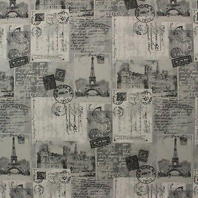 RICHLOOM POSTCARD GRAY PARIS FRENCH SCRIPT EIFFEL TOWER FABRIC BY THE YARD 54