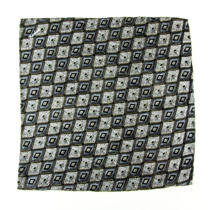 New KASHANI Handmade Black Silver Geometric Silk Pocket Square Handkerchief $150