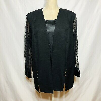 VANY Woman New York Plus size 18W Blouse Mock 2 Piece Black Lace Long Sleeve